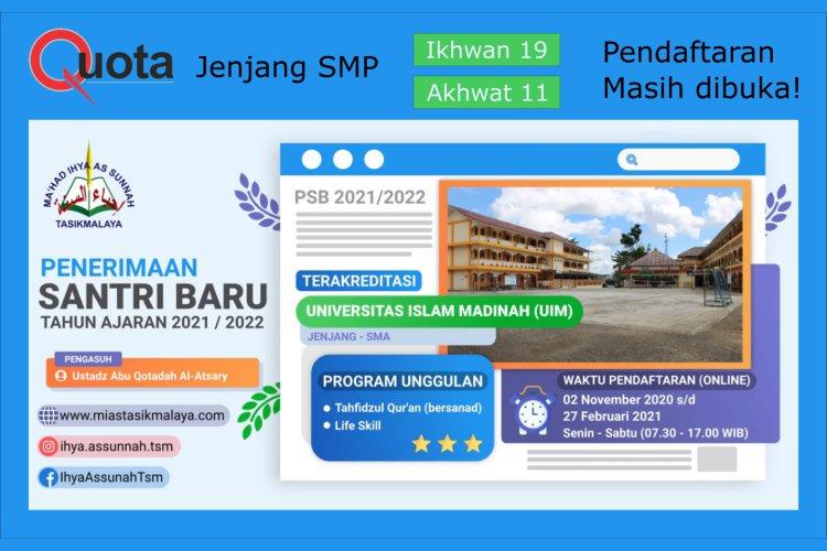 Informasi Quota PSB SMPIT-TQ IAS TSM 2021/2022