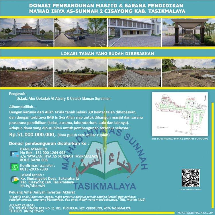Donasi Pembangunan Masjid & Sarana Pendidikan Ma'had Ihya As-Sunnah 2
